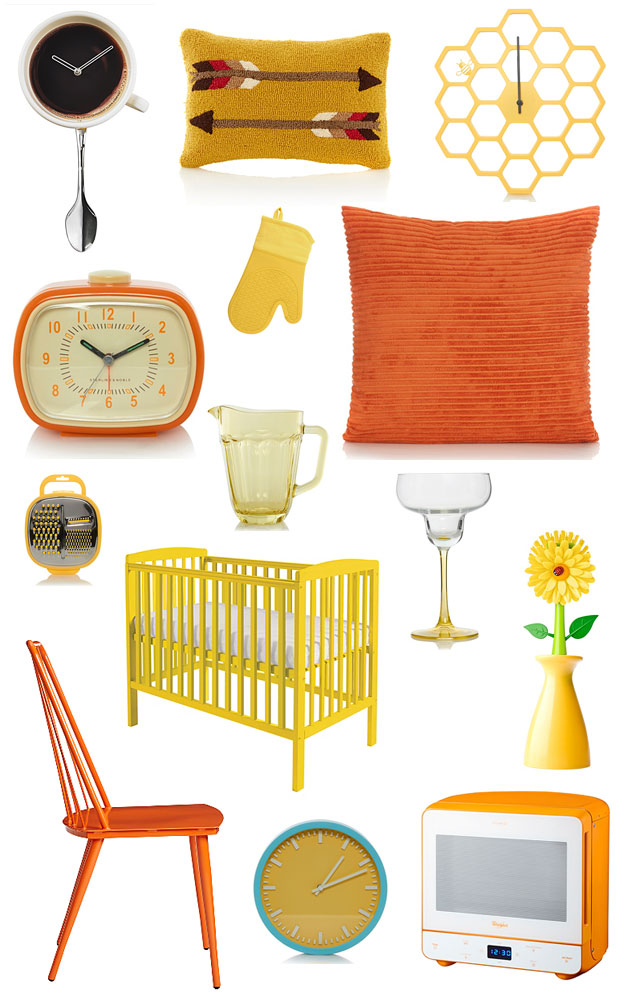 asda george wish list - retro orange & yellow home accessories - a