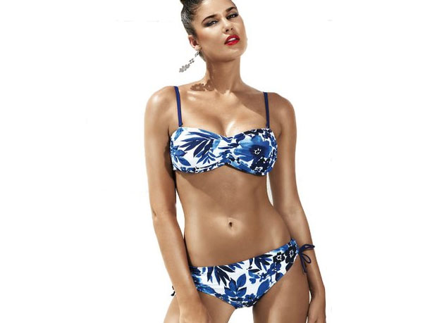 David Lady Club Blue and White Floral Print Bandeau Bikini Review A Mum Reviews