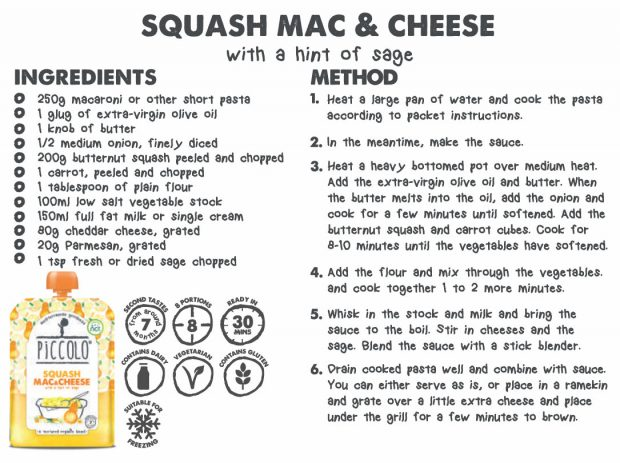 Recipe: My Little Piccolo's Squash Mac & Cheese with a Hint of Sage A Mum Reviews