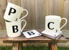 Joyce & Joan Scrabble Letters Mugs & Coasters + Discount Code